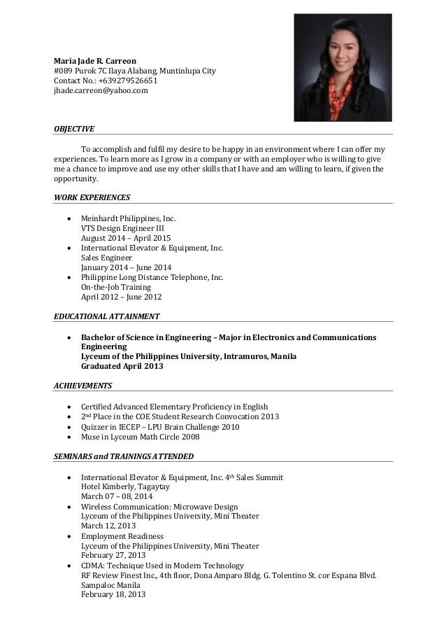 sample facebook resume
