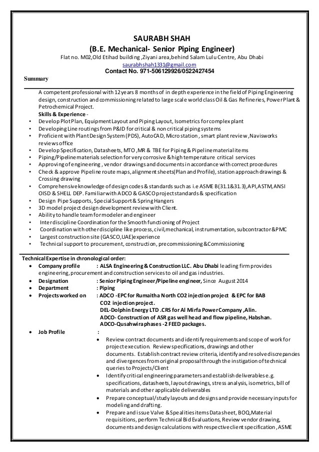 Saurabh Shah Piping Engineer CV