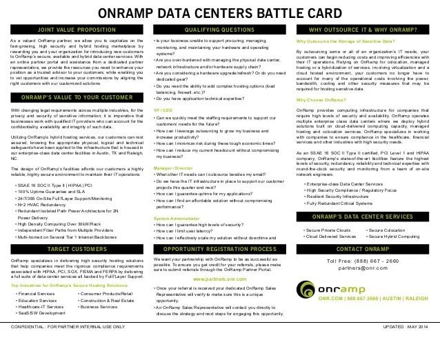 OnRamp Partner Program Battlecard