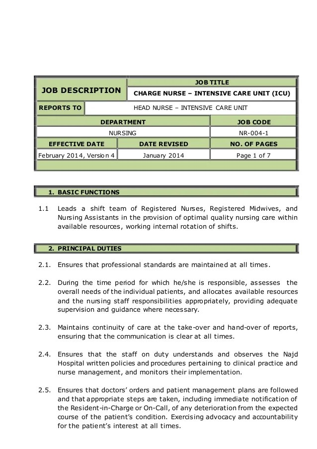 job roles and responsibilities template