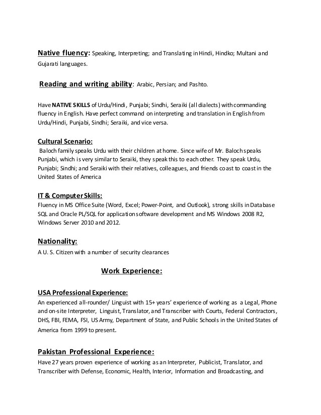 Medical_Legal Interpreter Resume