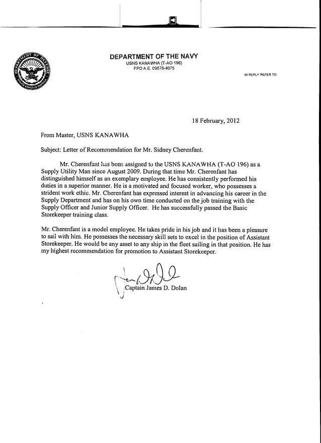 Army Promotion Board Letter Of Recommendation Examp