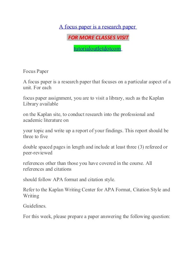 A Focus Paper Is A Research Paper Tutorialoutlet