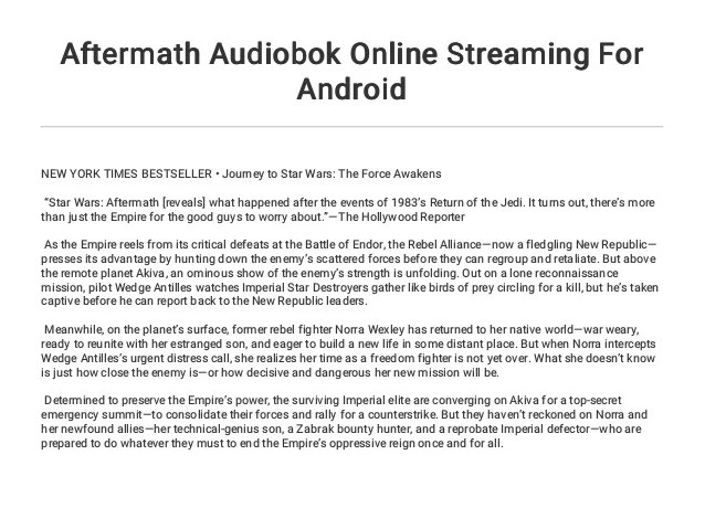 aftermath audiobok online streaming