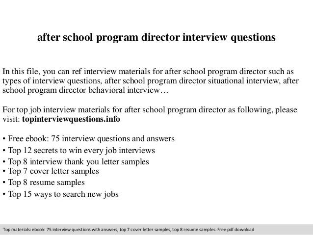 After school program director interview questions