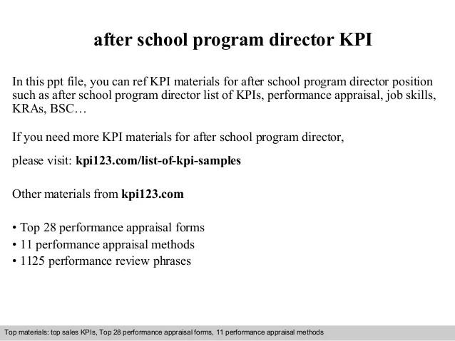 After school program director kpi