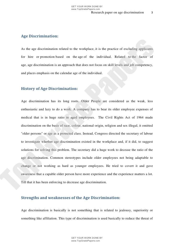 Age Discrimination Academic Essay Assignment