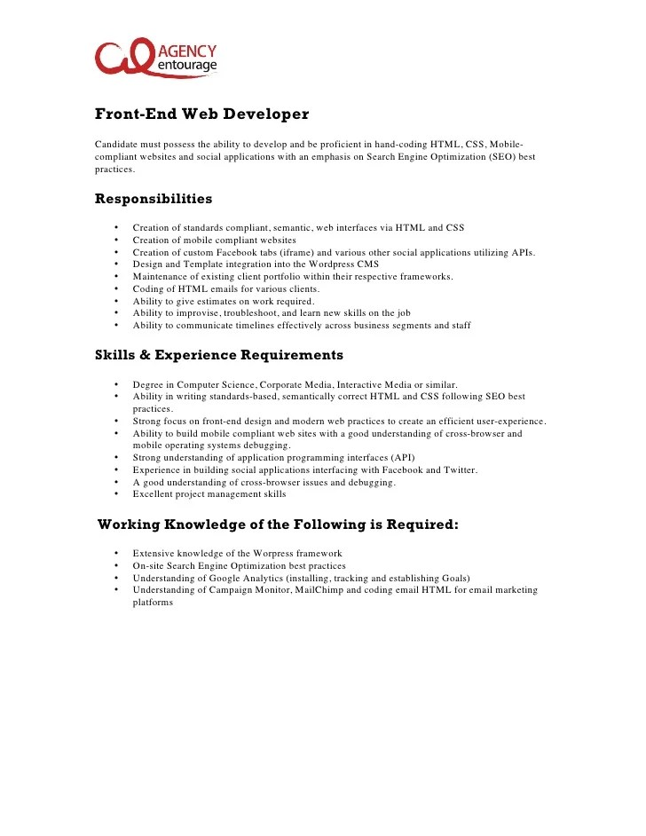Job Description Sample Web Developer | Sample Customer ...