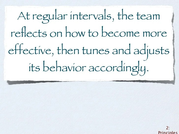 At regular intervals. the teamreflects
