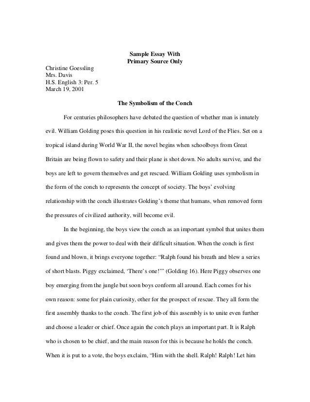 Sample Literary Essay Sample Literary Essays Sample Literature Essay