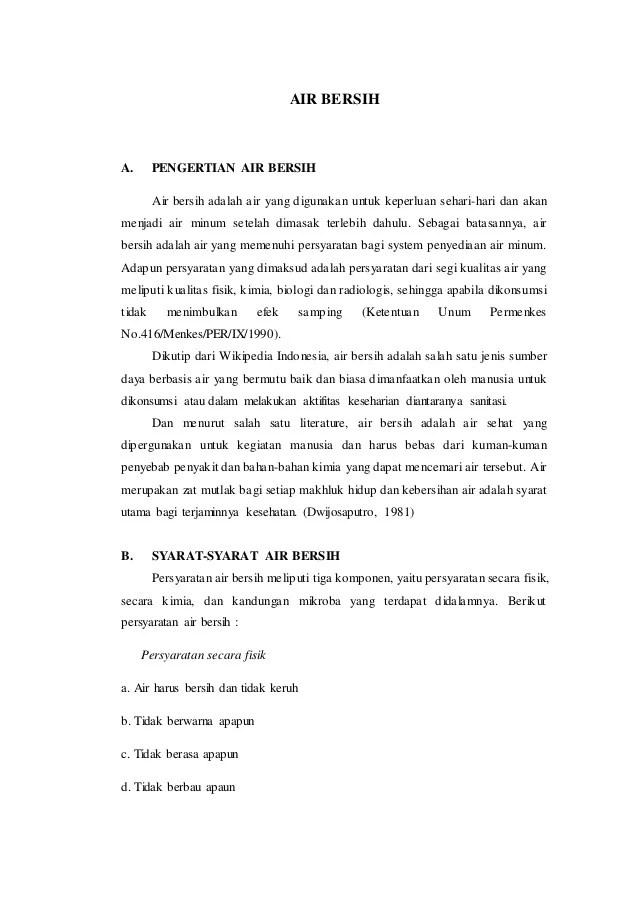 Tuliskan Syarat Fisik Air Bersih Layak Minum : tuliskan, syarat, fisik, bersih, layak, minum, Bersih, Complete