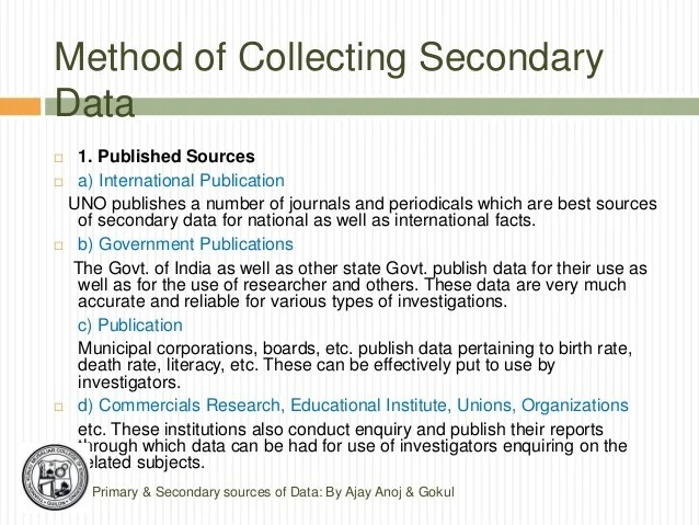 Primary And Secondary Data Collection Ajay Anoj & Gokul