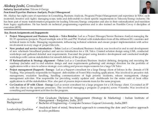 business analysis manager resume sample