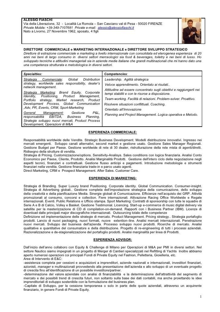 Curriculum Vitae Curriculum Vitae In Italiano