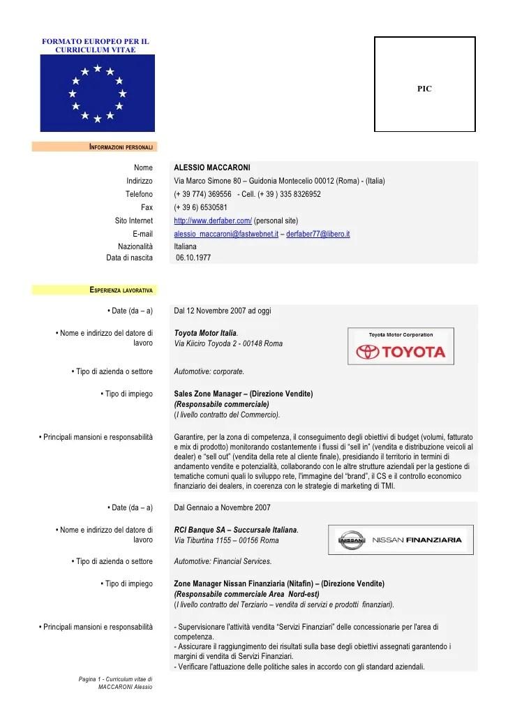 Download Modello Curriculum Vitae Peatix