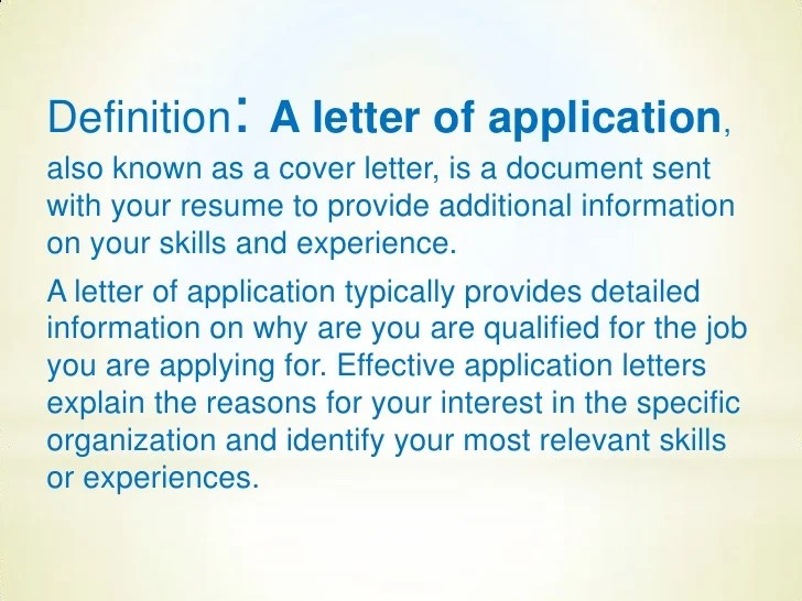 resume and cover letter definition