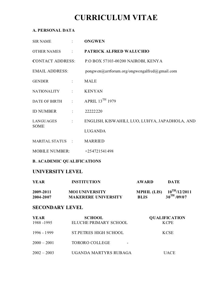 Best Cv Samples In Kenya Fresh Essays