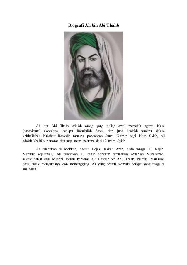 Prestasi Ali Bin Abi Thalib : prestasi, thalib, Thalib