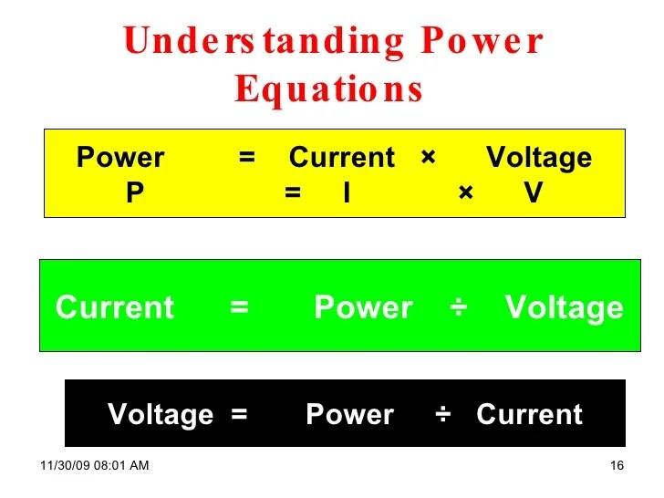Power Formula Voltage Current Formula Resistance Formula