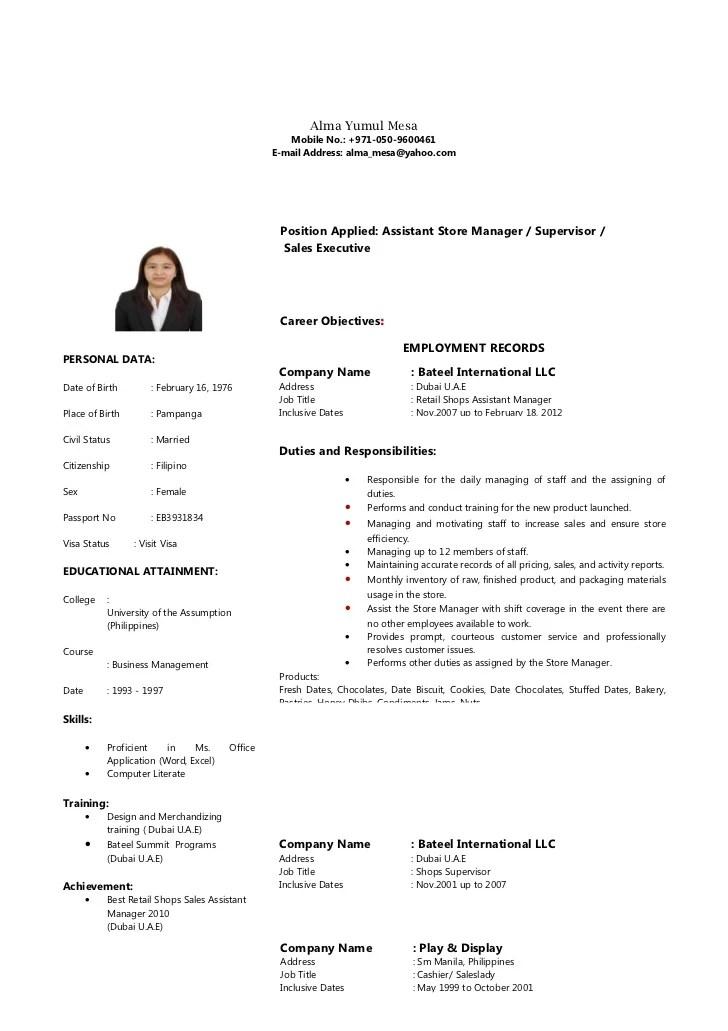 sales executive resume sample in uae