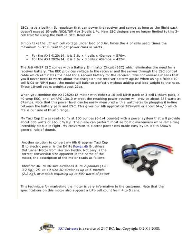 how to choose a brushless motor for rc plane