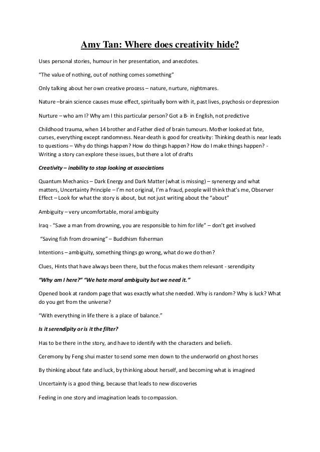 Summary Of Amy Tan Talk