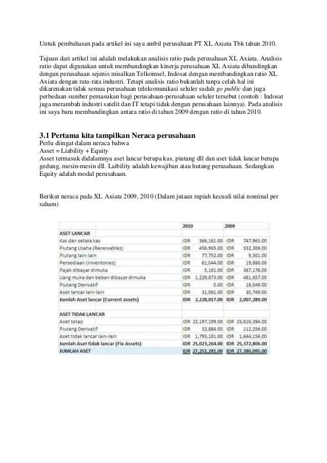 Analisa Ratio Laporan Keuangan Pt Xl Axiata Tbk Cute766