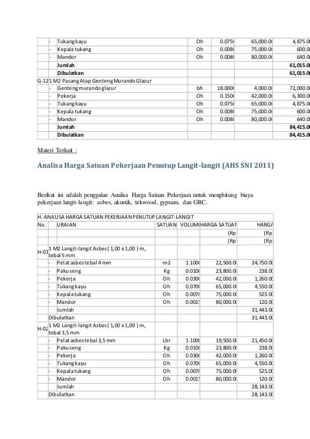 analisa harga satuan pekerjaan atap baja ringan 2017 bongkaran