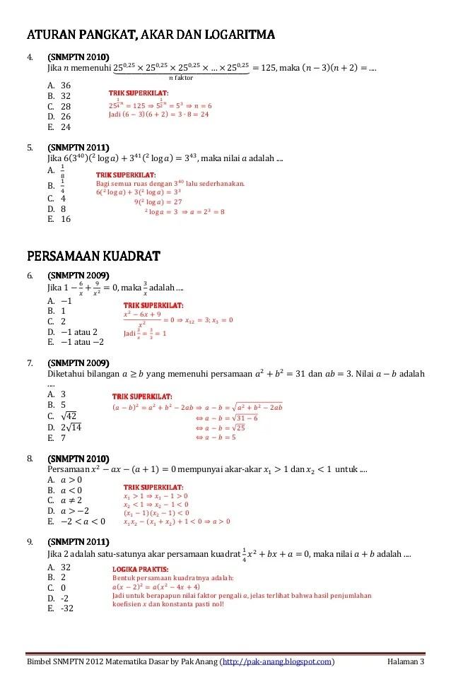 Tes Matematika Dasar Psikotes