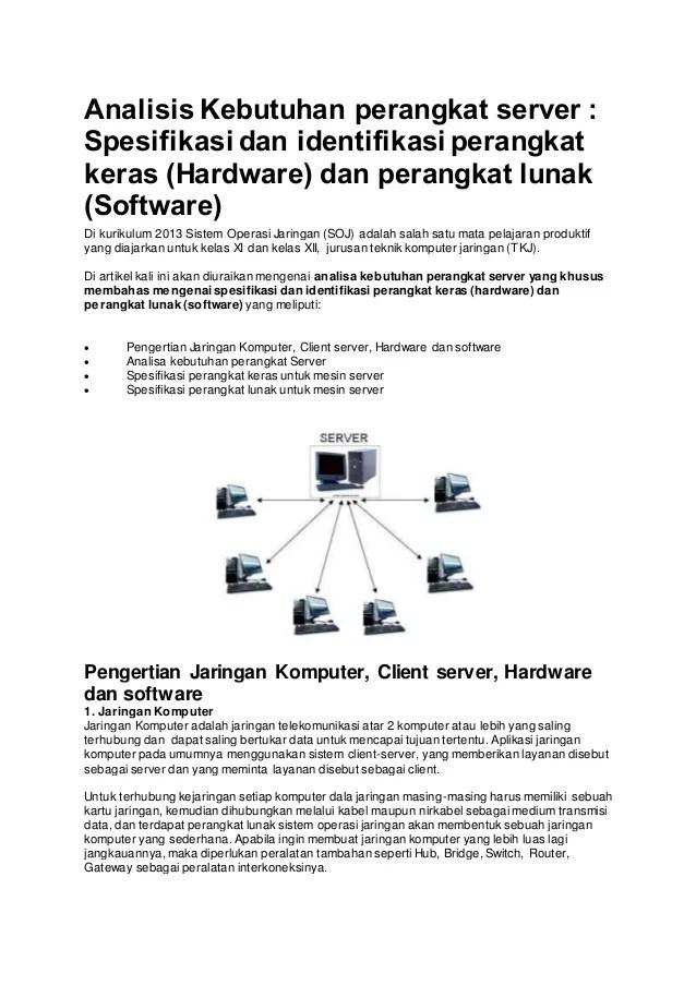 Cara Membuat Komputer Server Dan Client : membuat, komputer, server, client, Analisis, Kebutuhan, Perangkat, Server