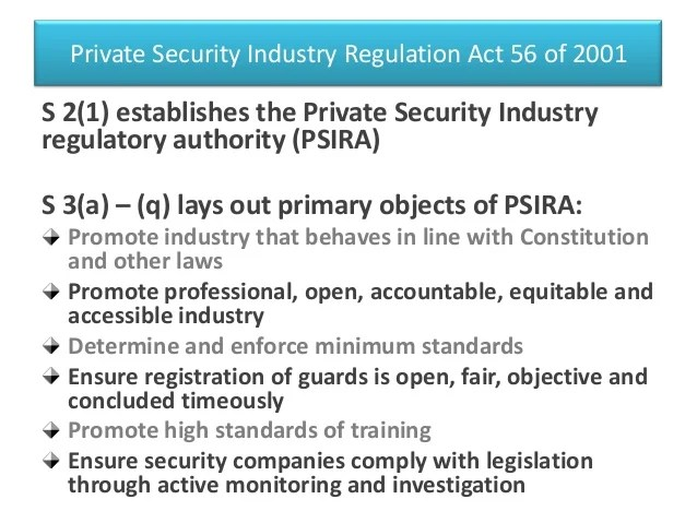 Private Security Regulation Act 56 2001
