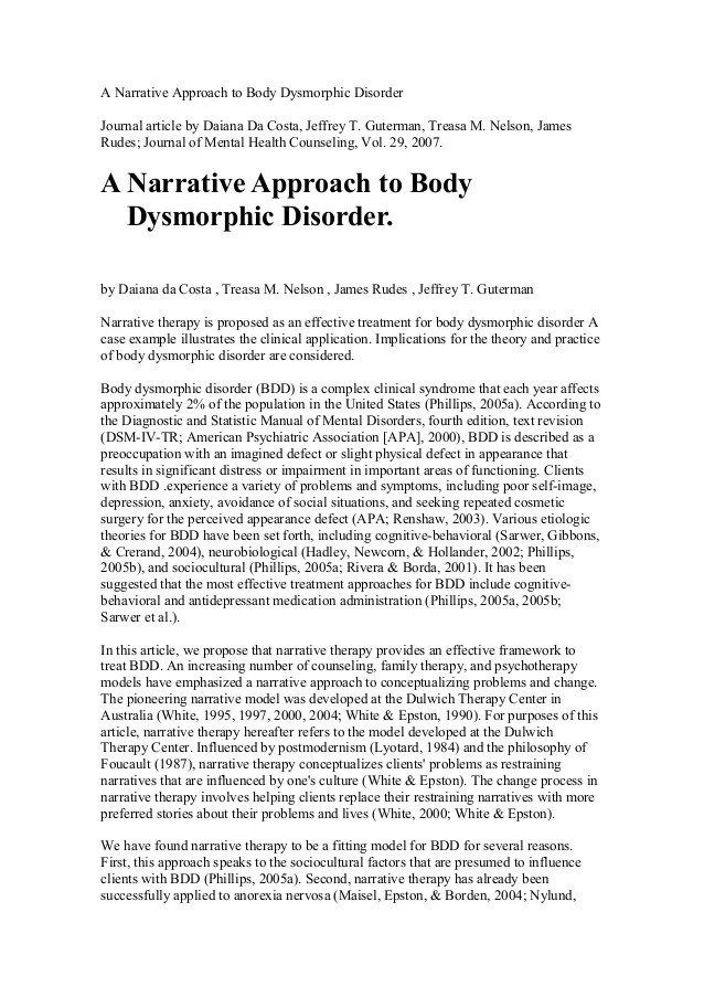 A Narrative Approach To Body Dysmorphic Disorder