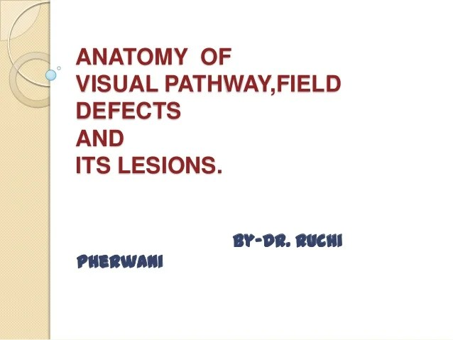 Anatomy of visual pathwayfield defects and its lesions also pathway field rh slideshare