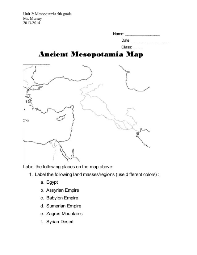 Ancient Mesopotamia Mapworksheet