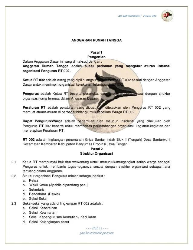 Struktur Organisasi Rt Dan Tugasnya : struktur, organisasi, tugasnya, Anggaran, Dasar, 002/005, Perum, Purwokerto