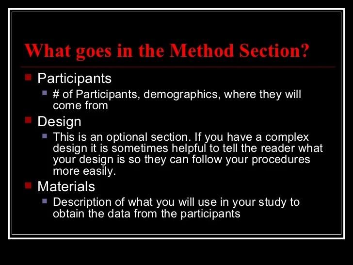 Apa Method Section