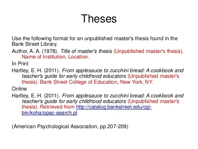 how to cite a thesis in word