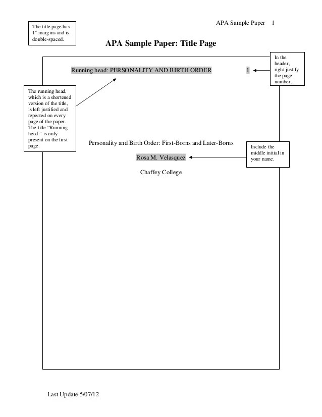 Apa Sample Paper Title Page Baskan Idai Co