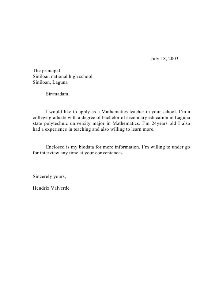 Example Of Application Letter In School Social Work Resignation