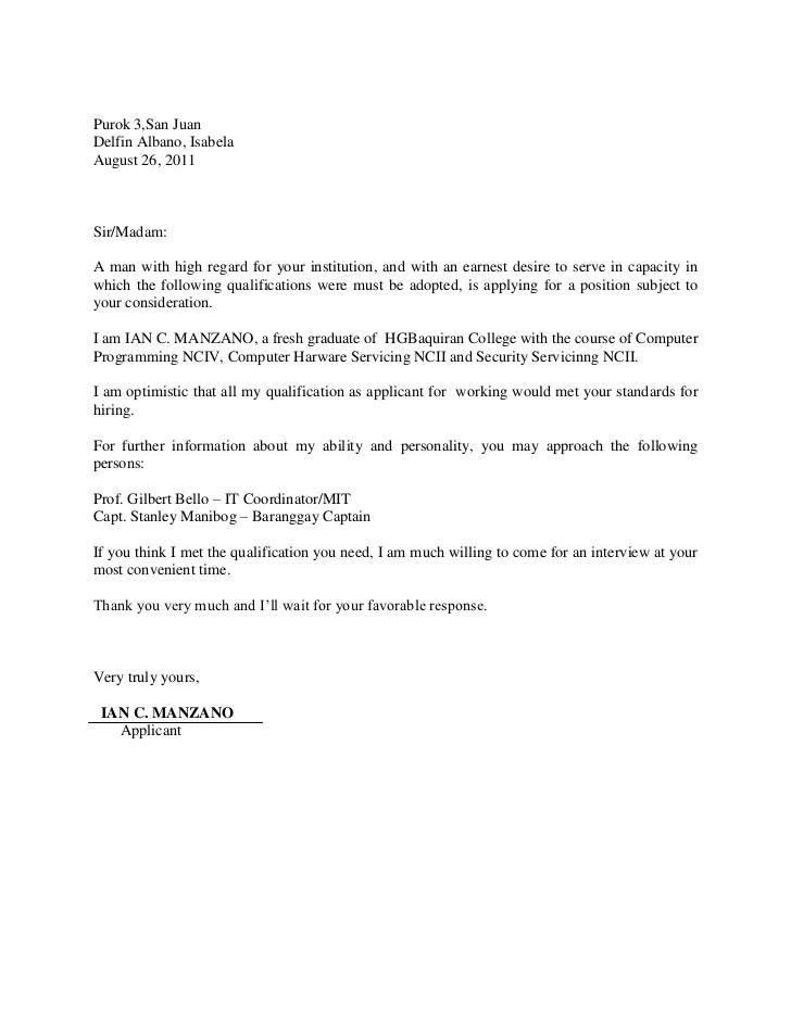 Application Letter Ian Manzano