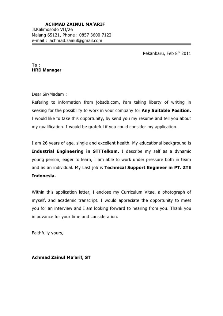 Application Letter  Cv