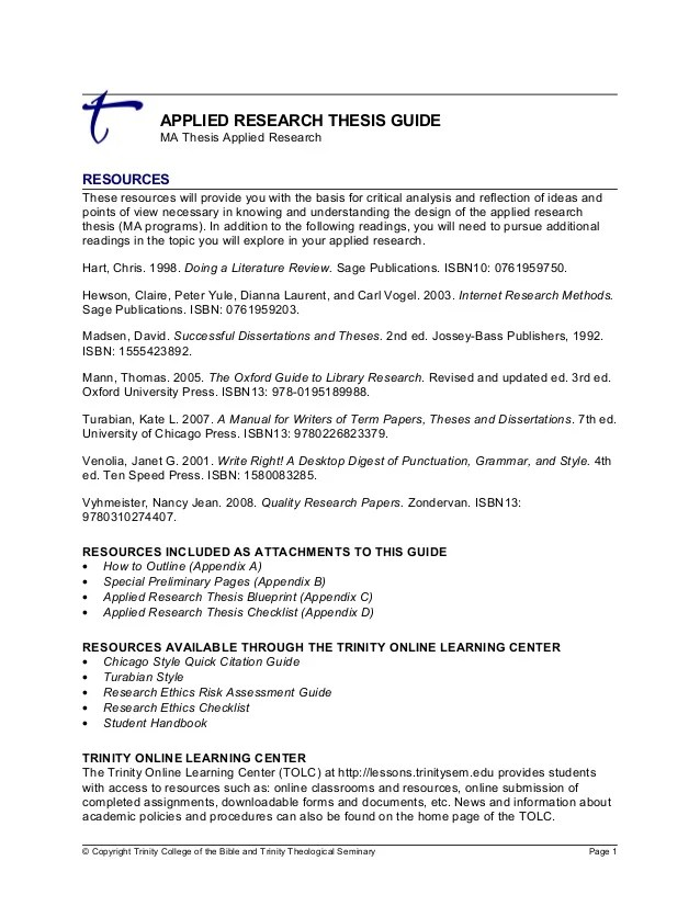 Applied Research Thesis Guide
