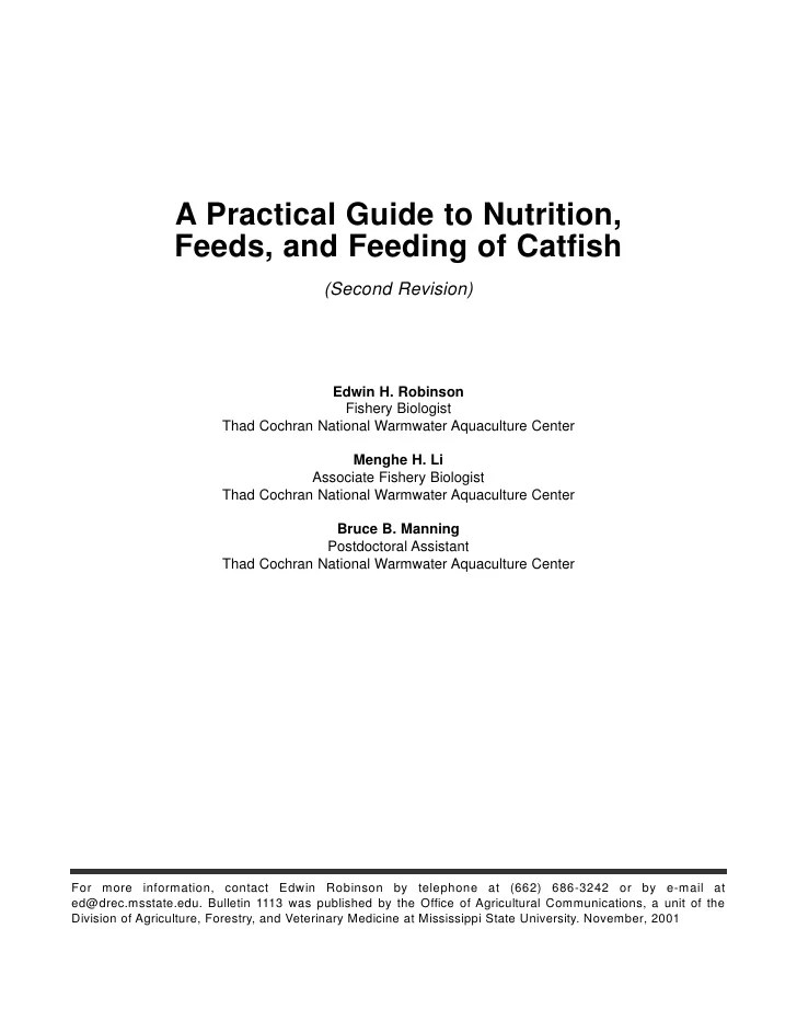 A Practical Guide To Nutrition Feeds And Feeding Of Catfish