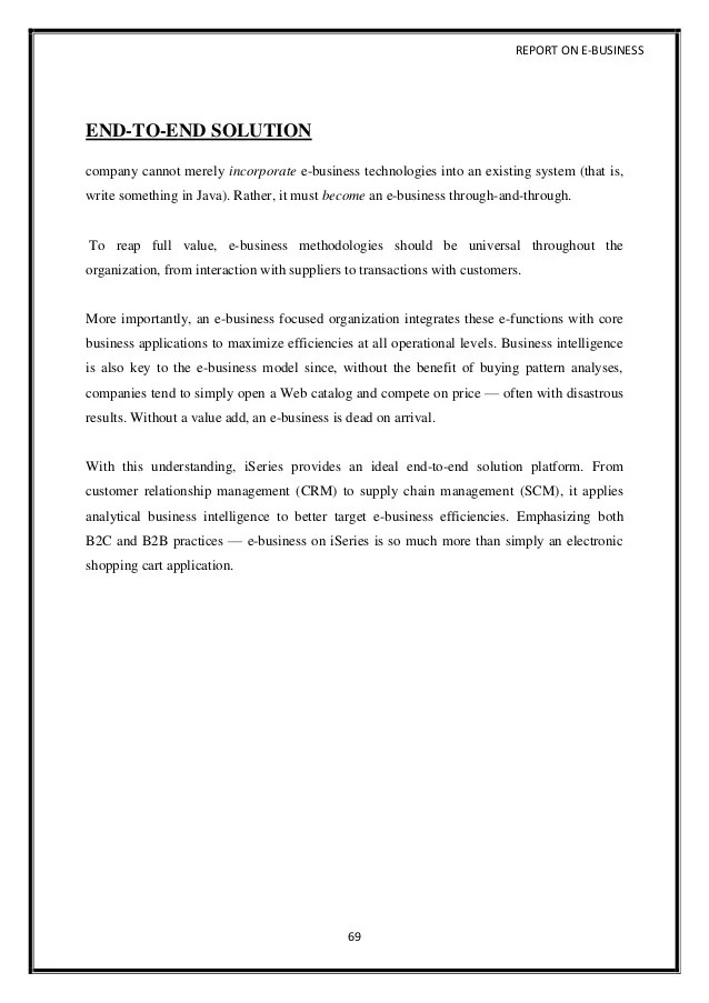 A Project Report On E Business