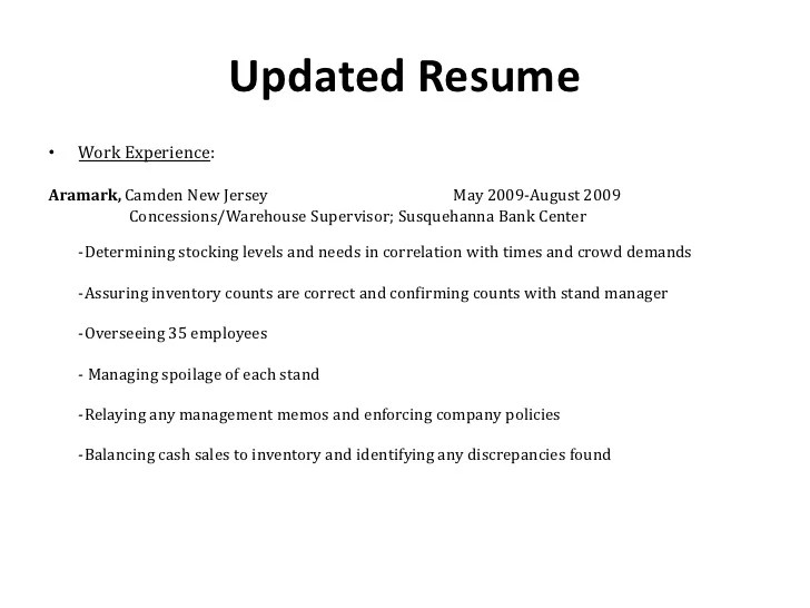 Concessions Manager Resume - Cover Letter Resume Ideas ...