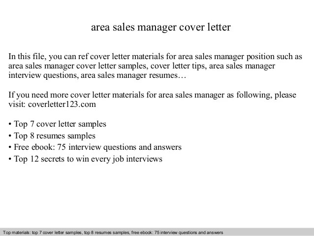 Area sales manager cover letter