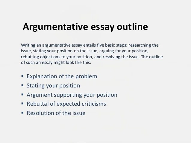 Argumentative Essay Outline Examples Argumentative Essay Outline 1