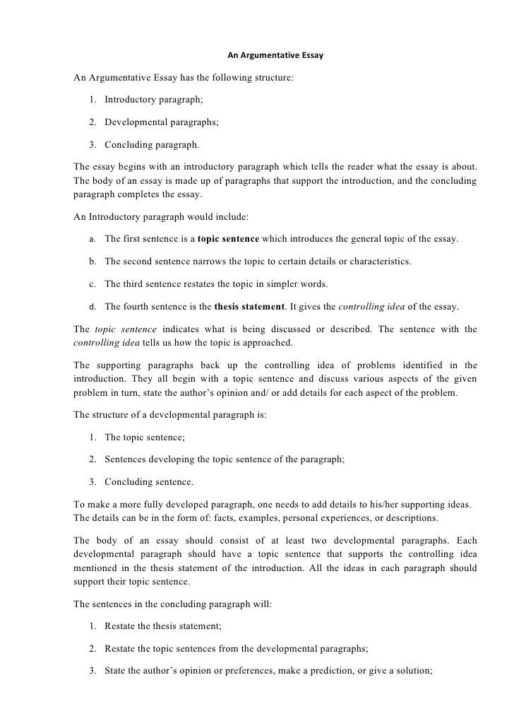 Persuasive Essay Outline Examples Argumentative Essay Structure
