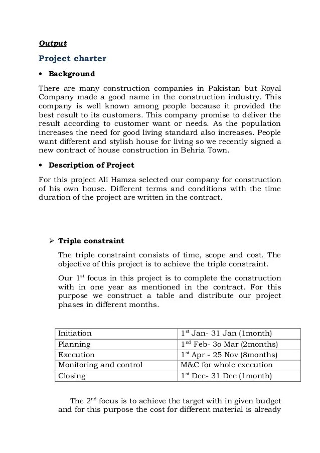 sample project charter for construction