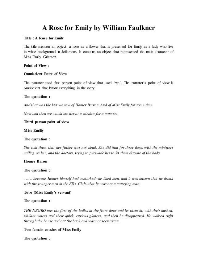 A Rose For Emily Essay Topics Infoletter